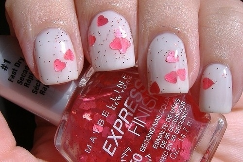 You can achieve this look with a top coat with tiny hearts