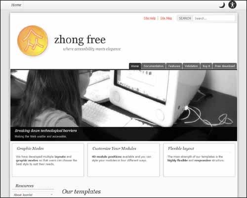 Zhong Framework Free Joomla Template