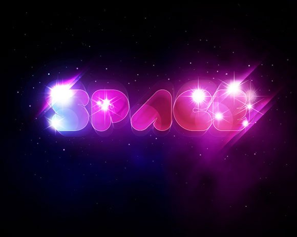Create a Unique Glowing Text with Space Background