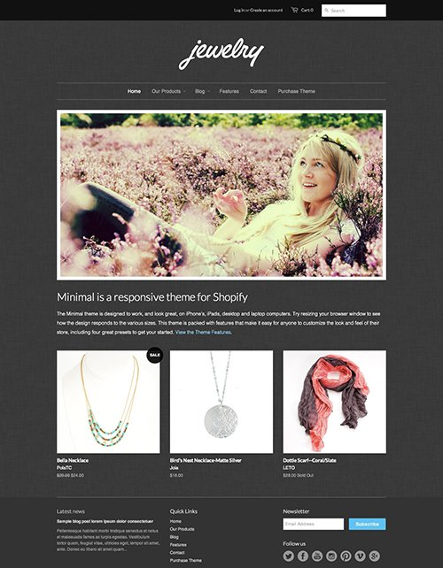 Jewelry Ecommerce Website Template – Free Minimal Online Store Theme