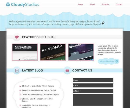 Simple & Cloudy Portfolio Layout