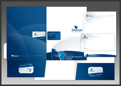 Stepcase logo + stationery