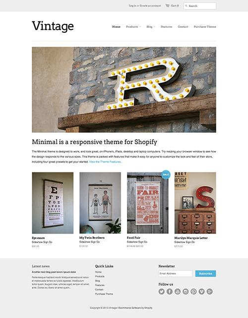 Vintage Ecommerce Website Template – Free Minimal Online Store Theme