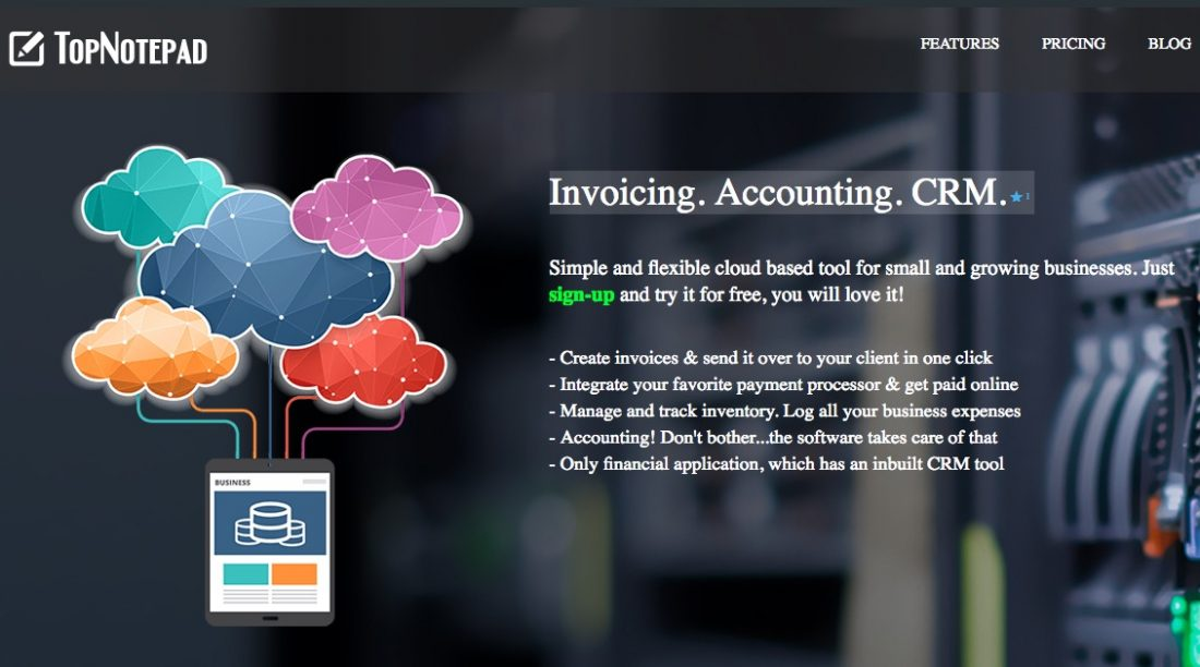 TopNotepad Review - A Cost Effective & Exhaustive Online Invoicing, Accounting, CRM Software