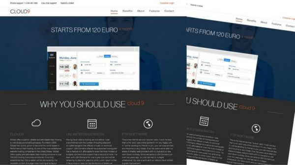 Cloud9 One Page Hosting Template