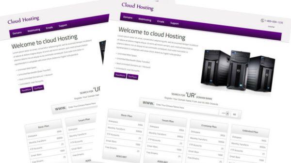 Free cloud Hosting Domain Name responsive Web Template