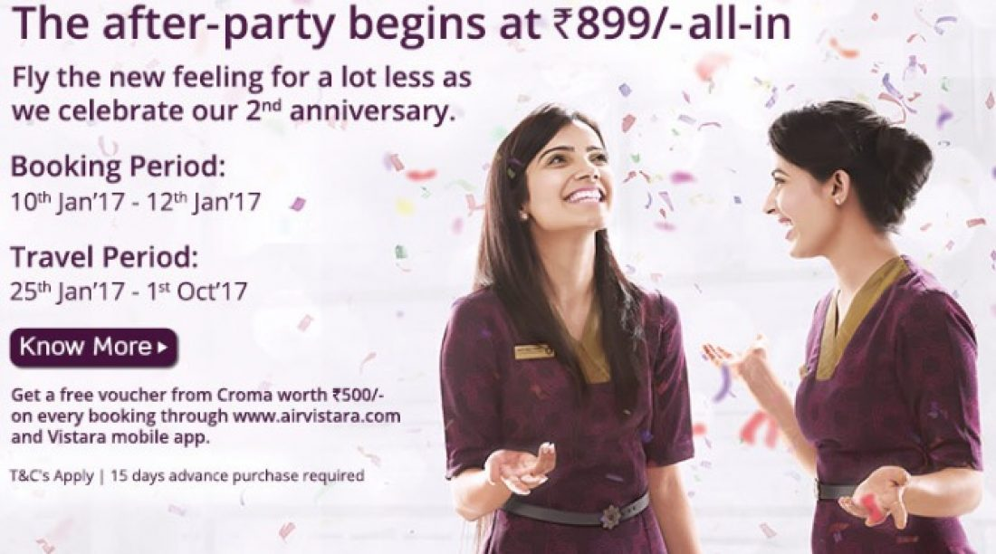Buy Air tickets @ Rs899 as Vistara Airlines Celebrate 2 yrs (Hurry offer ends on Jan 12, 2017)