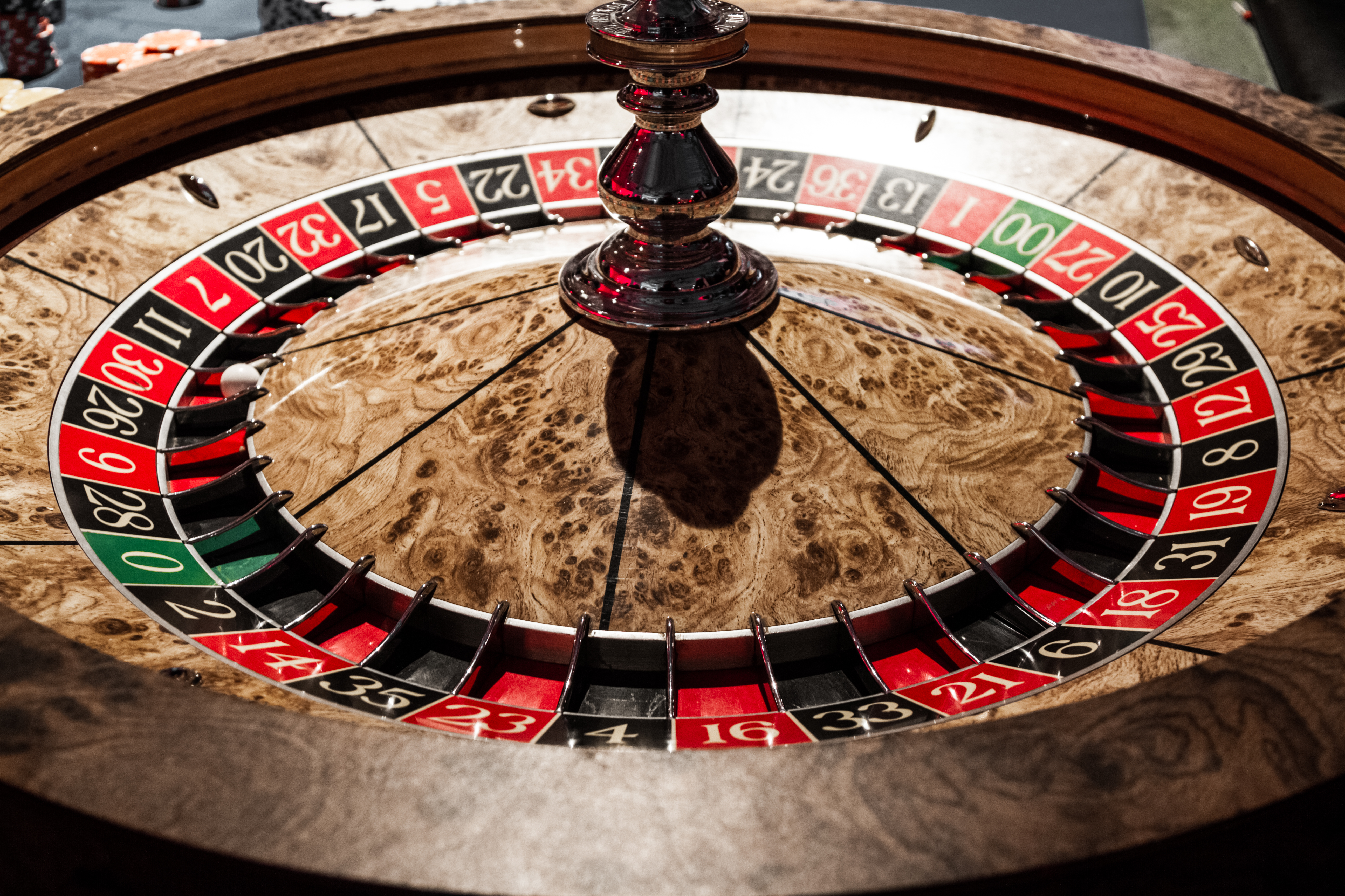 Classy Wooden Shiny Roulette Details in a Casino