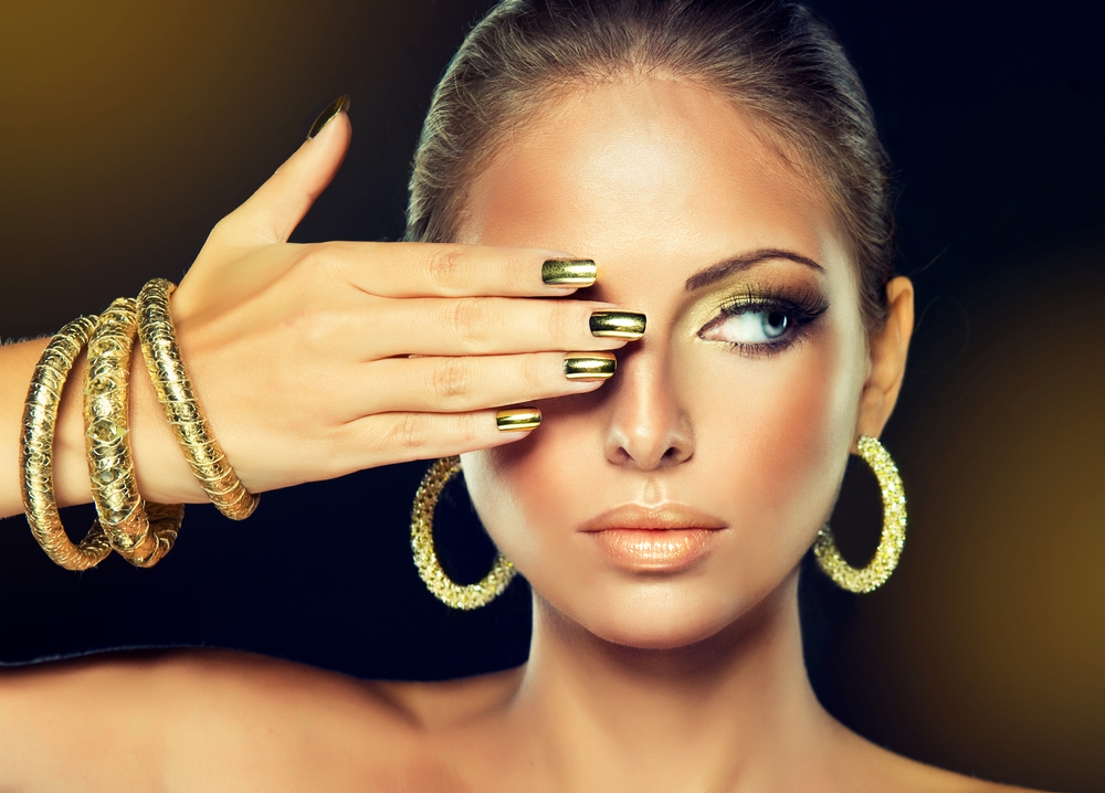 gold bangles and earrings