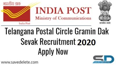 Telangana Postal Circle Gramin Dak Sevak Recruitment 2020
