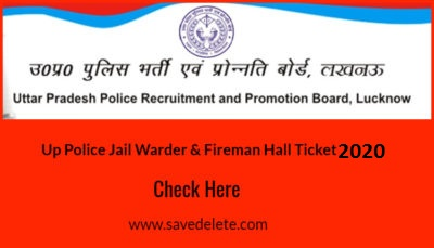 UP Police Jail Warder & Fireman Hall Ticket 2020