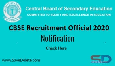 CBSE Recruitment 2020 Official Notification