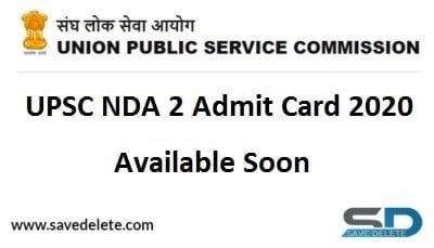 UPSC NDA II Admit Card 2020