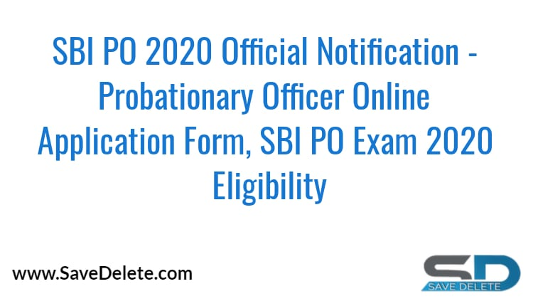 SBI PO 2020 Official Notification