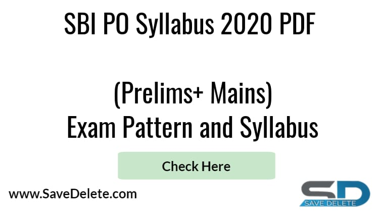 SBI PO Syllabus 2020