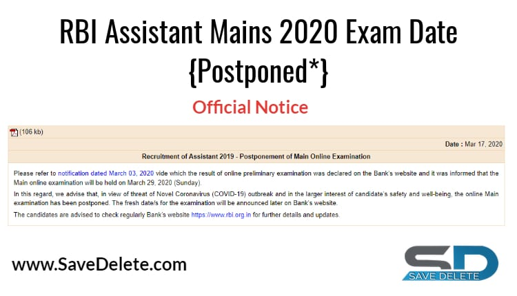 RBI Assistant Mains 2020 Date