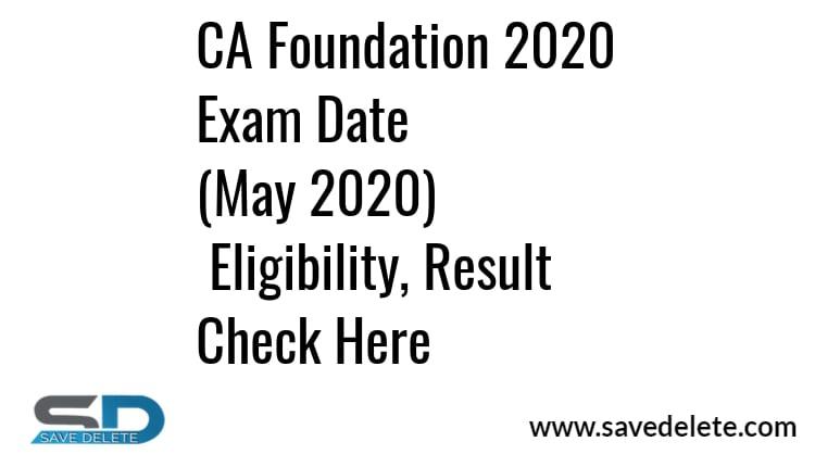 CA Foundation 2020 May Exam