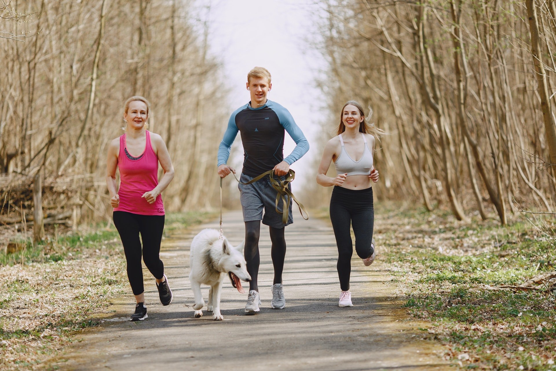 photo-of-two-women-and-man-jogging-with-dog-on-pavement-4148952