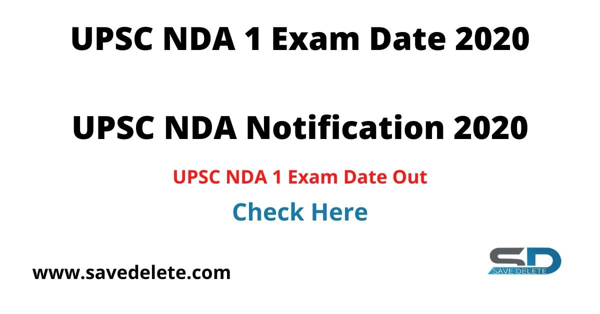 UPSC NDA 1 Exam Date 2020