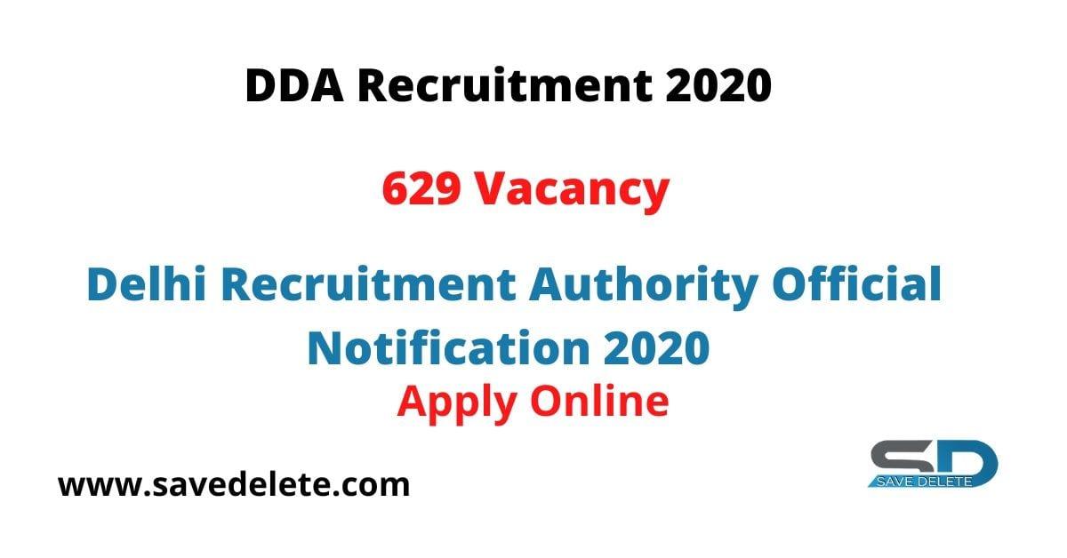 DDA Recruitment 2020