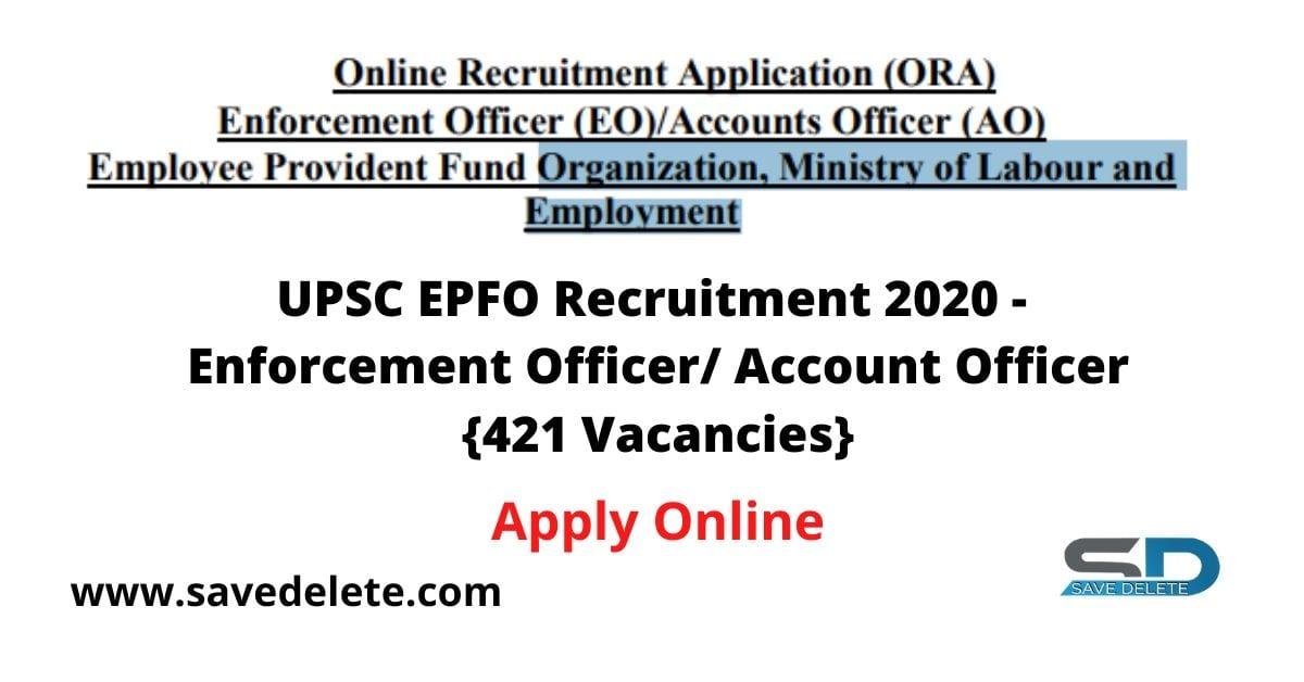 UPSC EPFO Recruitment 2020