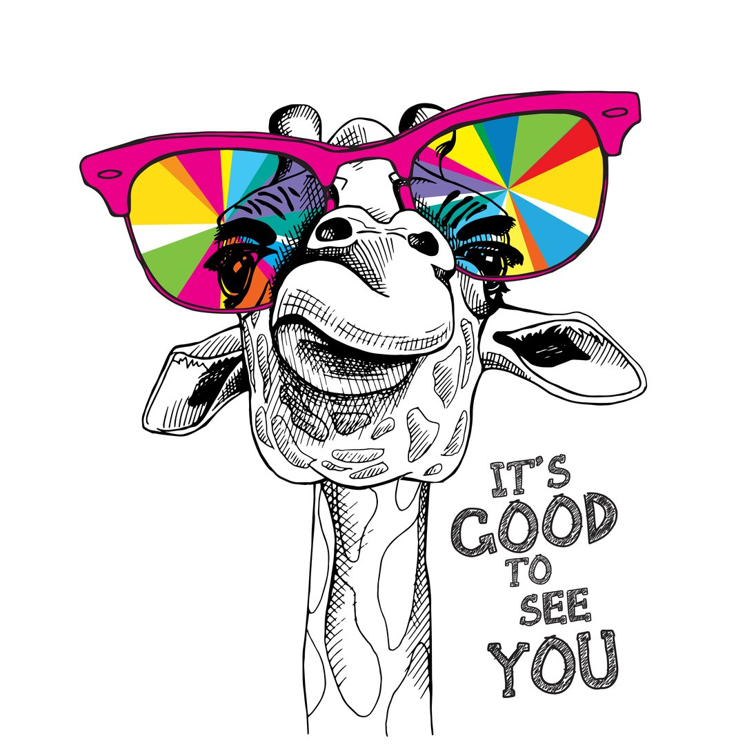 Funny poster. Portrait of a Giraffe in a bright coloring glasses