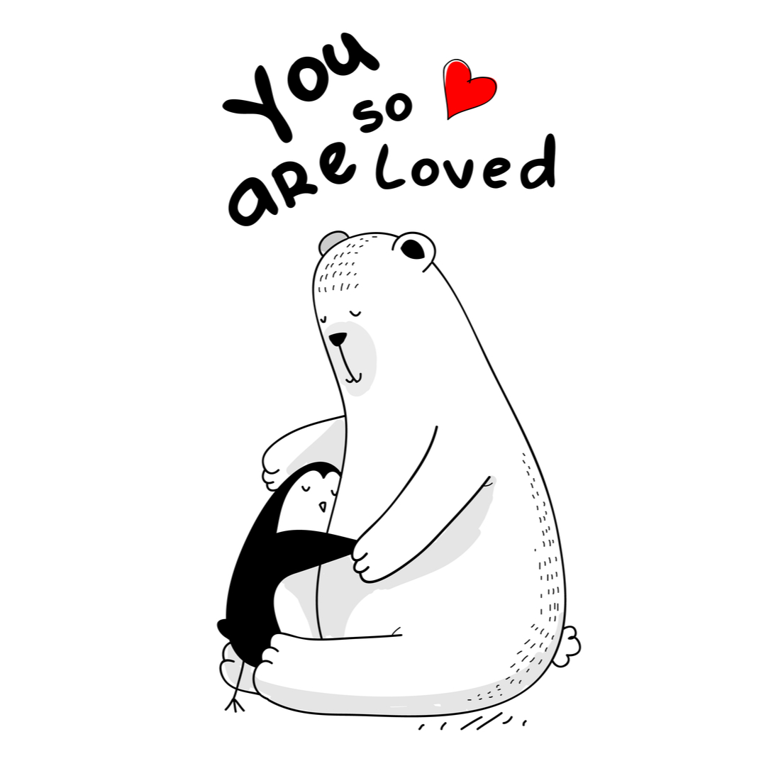 Love DP - Little Penguin and white bear hugging - You are so loved