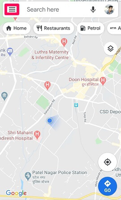 google maps hamberger icon