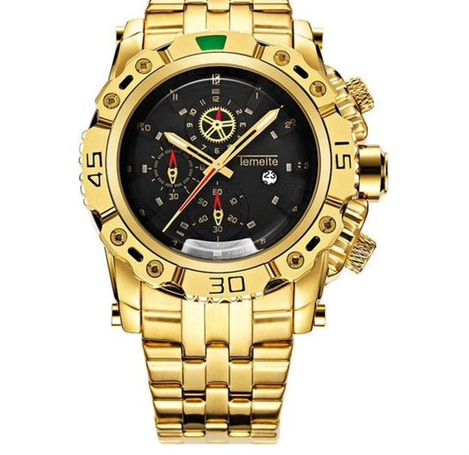 A Luxury Stainless Steel Gold Watch