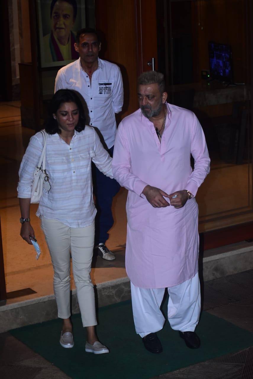 Actor Sanjay Dutt and his sister Priya Dutt seen outside ...