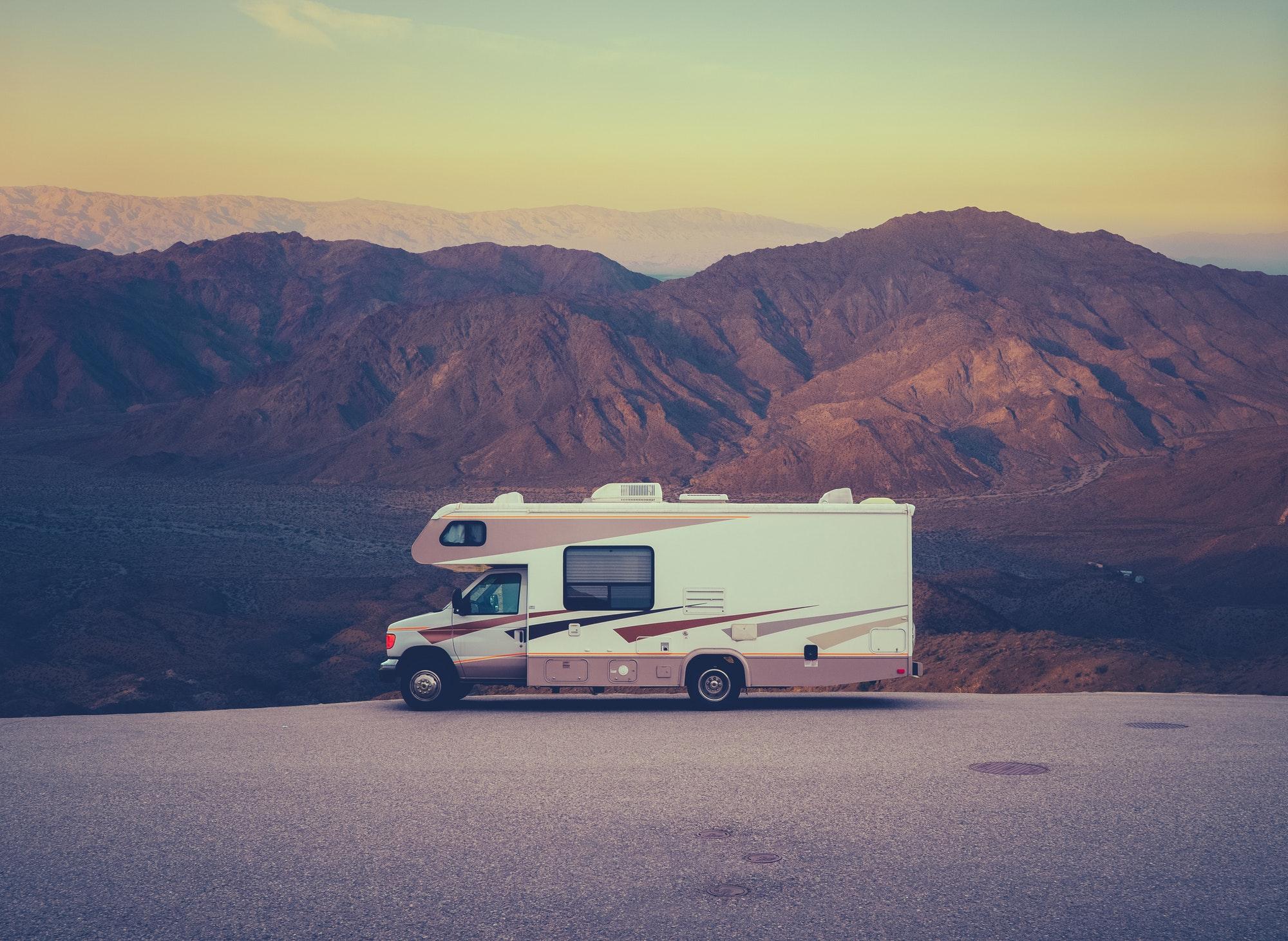 Retro RV Camper In The Desert
