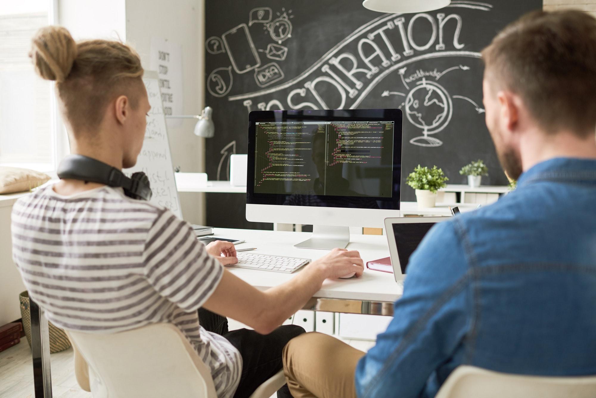 Startup software development team in office