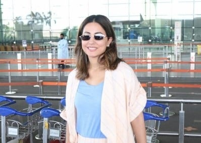 Actress Hina Khan seen at the Chhatrapati Shivaji Maharaj International Airport in Mumbai