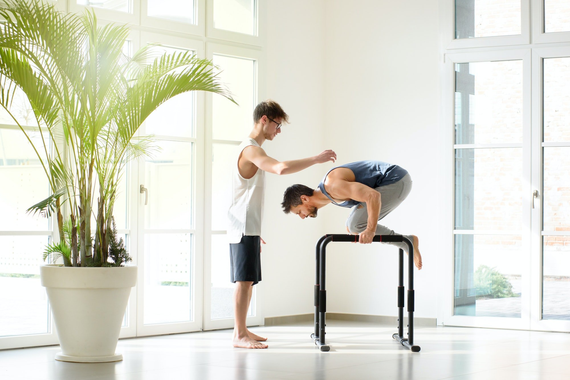 Two men working out doing calisthenics exercises