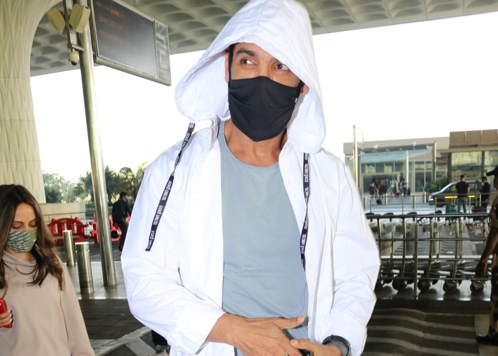 Actor John Abraham seen at the Chhatrapati Shivaji Maharaj International Airport in Mumbai