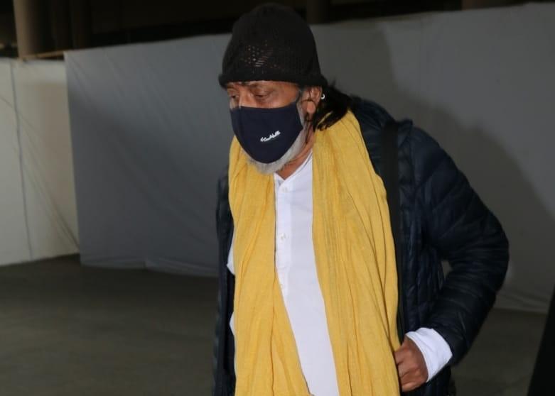 Actor Mithun Chakraborty seen at the Chhatrapati Shivaji Maharaj International Airport in Mumbai
