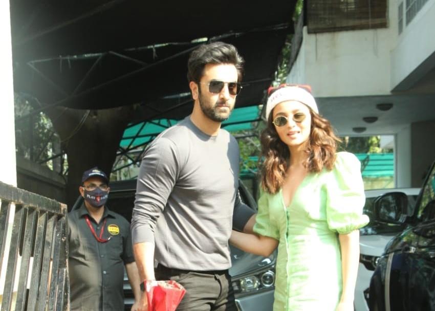 Actors Ranbir Kapoor and Alia Bhatt arrive at Shashi Kapoor's residence for Christmas bash, in Mumbai