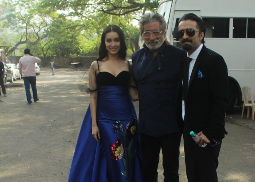 Actors Shraddha Kapoor, Shakti Kapoor and Siddhanth Kapoor arrive for the shoot of 'Indian Pro Music League', in Mumbai