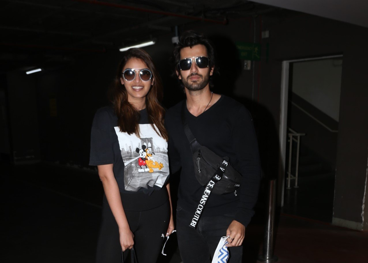 Actress Anushka Ranjan and her actor boyfriend Aditya Seal seen at the Chhatrapati Shivaji Maharaj International Airport in Mumbai