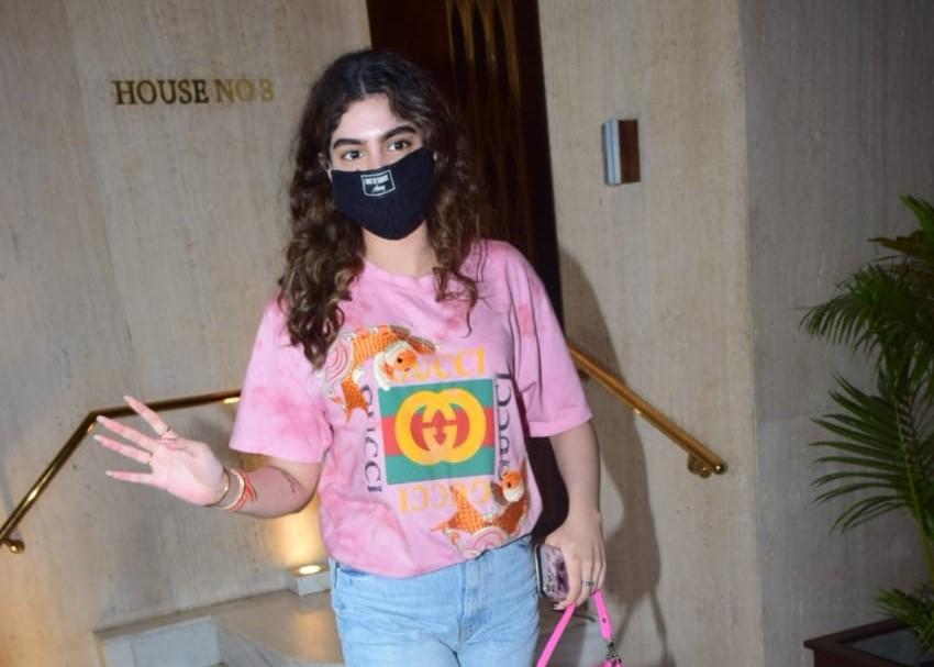 Actress Janhvi Kapoor's sister Khushi Kapoor seen at fashion designer Manish Malhotra's Bandra residence in Mumbai