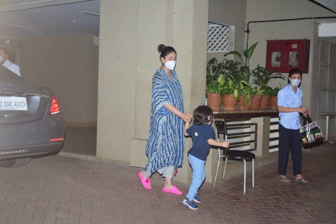 Actress Kareena Kapoor Khan and her son Taimur Ali Khan seen at Mumbai's Bandra