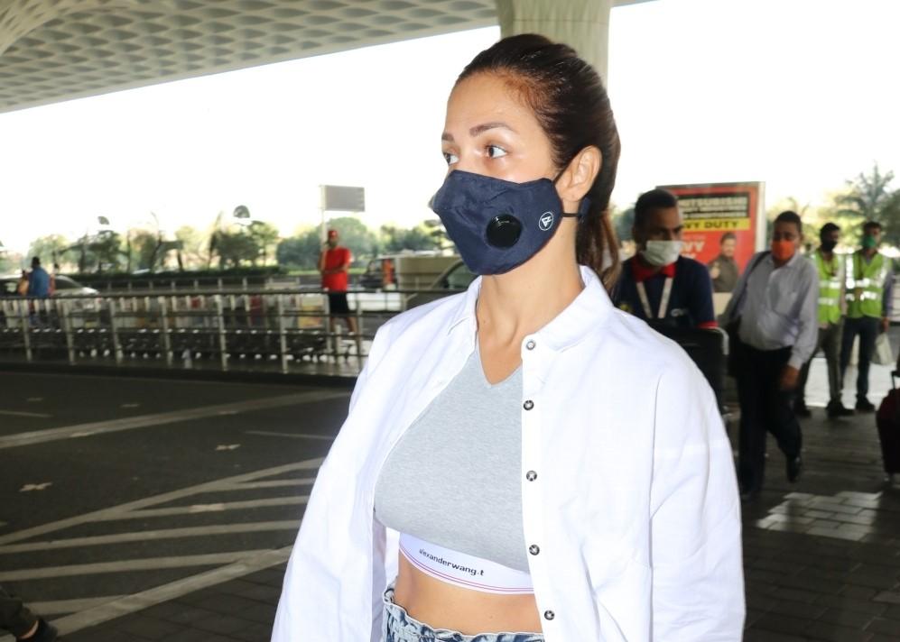 Actress Malaika Arora seen at the Chhatrapati Shivaji Maharaj International Airport in Mumbai