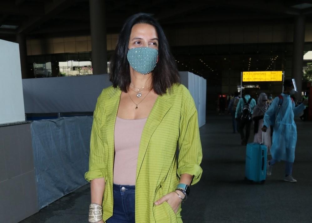 Actress Neha Dhupia seen at the Chhatrapati Shivaji Maharaj International Airport in Mumbai
