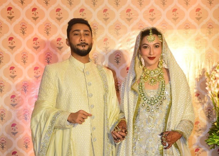 Bollywood music composer Ismail Darbar's son Zaid Darbar and actress Gauhar Khan at their wedding ceremony, in Mumbai