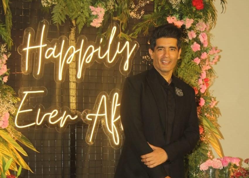Fashion designer Manish Malhotra at the wedding reception of Bollywood music composer Ismail Darbar's son Zaid Darbar and actress Gauahar Khan, in Mumbai