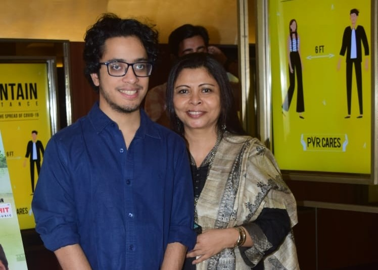 Late actor Om Puri's wife Nandita Puri and son Ishaan Puri at the special screening of his last film 'Omprakash Zindabad', in Mumbai