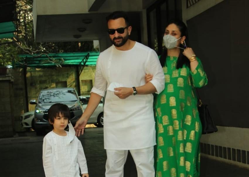 Star couple Kareena Kapoor Khan and Saif Ai Khan along with their son Taimur Ali Khan arrive at Shashi Kapoor's residence for Christmas bash, in Mumbai