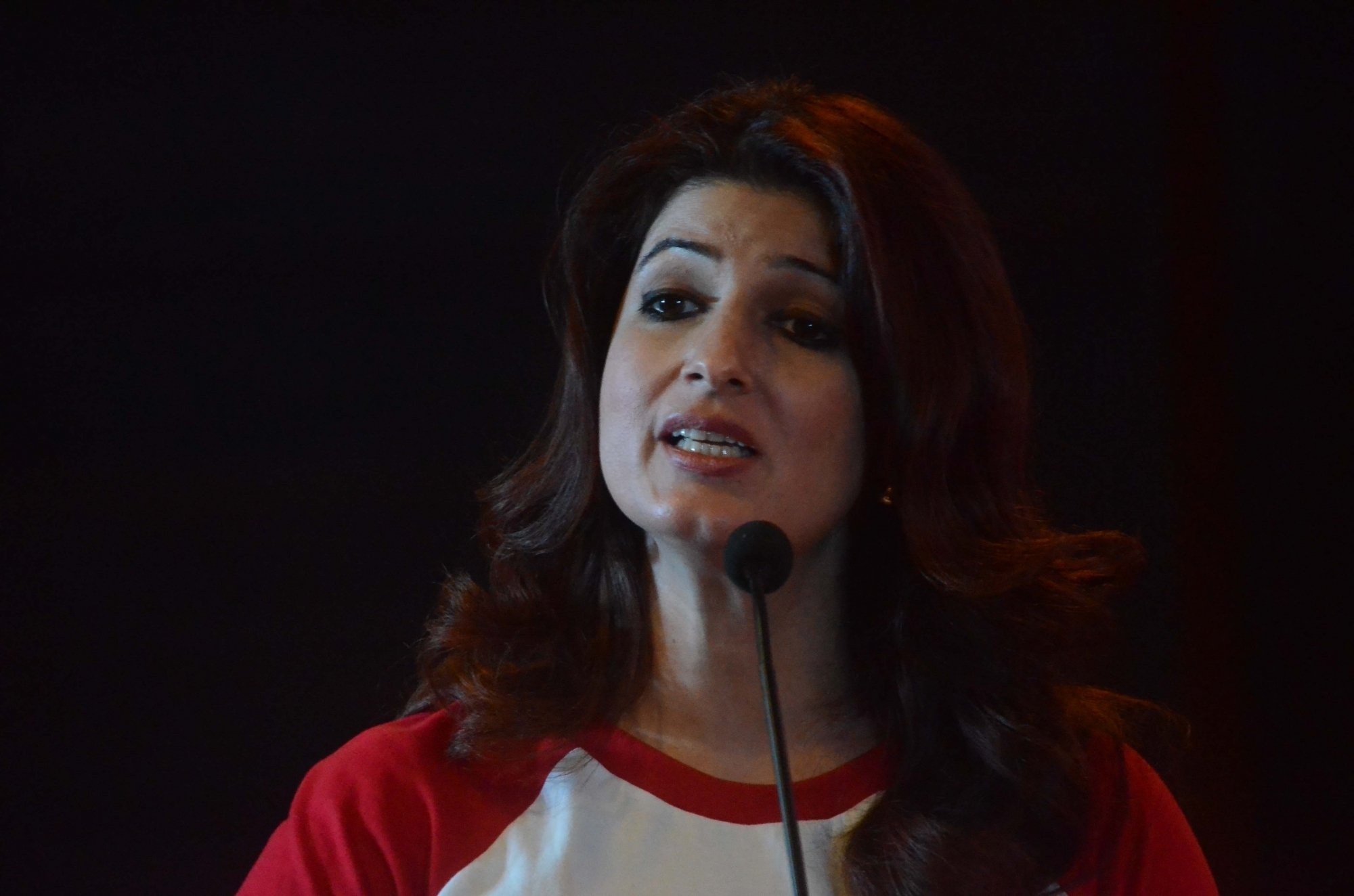 """Author and film producer Twinkle Khanna addresses during an awareness programme on """"Save the Children"""" in Mumbai"""