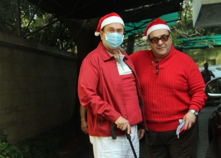 Veterna actor Randhir Kapoor and his brother Rajiv Kapoor arrive at Shashi Kapoor's residence for Christmas bash, in Mumbai