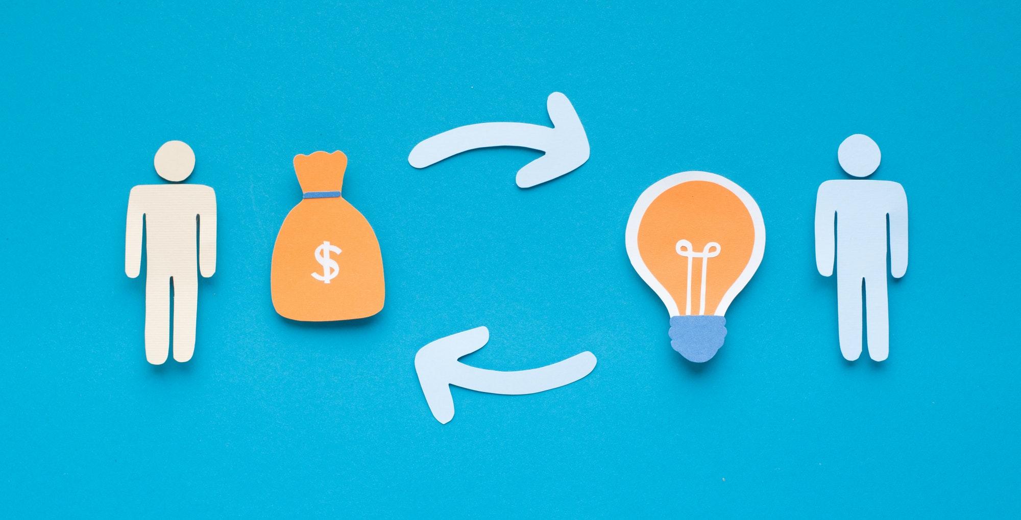 Enterpreneur exchanging his idea for investors money